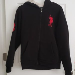 US Polo hooded zip up jacket lined